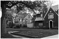 Old houses, North Boulevard. Houston, Texas, USA ( black and white)