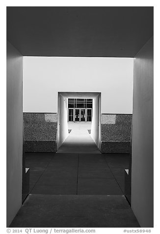 Doors, James Turrel Skyspace, Rice University. Houston, Texas, USA (black and white)