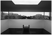 Campus seen from inside Skyspace, Rice University. Houston, Texas, USA ( black and white)