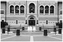 Fountain, and building, Rice University. Houston, Texas, USA ( black and white)
