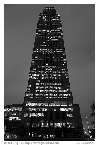 Williams (Transco) Tower at night. Houston, Texas, USA (black and white)