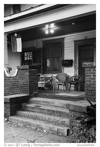Porch with Texas flag. Houston, Texas, USA (black and white)