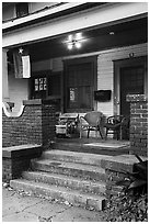 Porch with Texas flag. Houston, Texas, USA ( black and white)