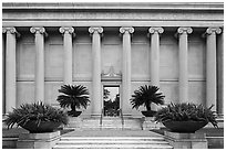Facade with columuns and motto, Museum of Fine Arts. Houston, Texas, USA ( black and white)