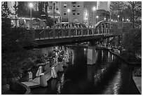 Bridge on Riverwalk. San Antonio, Texas, USA ( black and white)