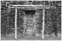 Door in wall, Indian quarters, Mission San Jose. San Antonio, Texas, USA ( black and white)