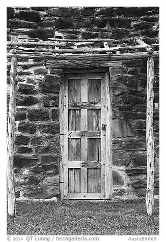Native American door, Mission San Jose. San Antonio, Texas, USA (black and white)