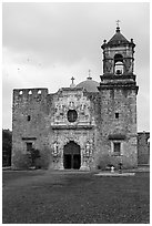 Mission San Jose church. San Antonio, Texas, USA ( black and white)