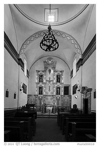 Interior of church, Mission San Jose. San Antonio, Texas, USA (black and white)