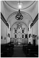 Interior of church, Mission San Jose. San Antonio, Texas, USA ( black and white)