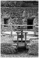 Mill and stream, Mission San Jose. San Antonio, Texas, USA ( black and white)