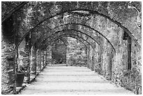 Arched walkway leading to the church, Mission San Jose. San Antonio, Texas, USA ( black and white)