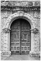 Rear portal to the church, Mission San Jose. San Antonio, Texas, USA ( black and white)