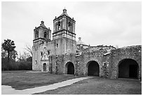 Mission Concepcion. San Antonio, Texas, USA ( black and white)