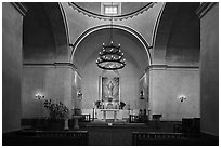Interior of the church, Mission Concepcion. San Antonio, Texas, USA ( black and white)