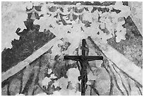 Fading fresco and crucifix. San Antonio, Texas, USA ( black and white)