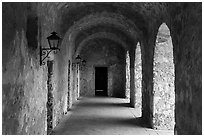 Gallery, Mission Concepcion. San Antonio, Texas, USA ( black and white)