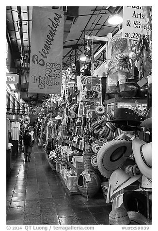 Market Square. San Antonio, Texas, USA (black and white)