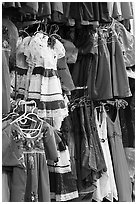 Mexican dresses for sale, Market Square. San Antonio, Texas, USA ( black and white)