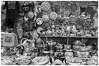 Handicrafts from Mexico for sale, Market Square. San Antonio, Texas, USA ( black and white)