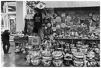 Mexican ceramics for sale, Market Square. San Antonio, Texas, USA ( black and white)