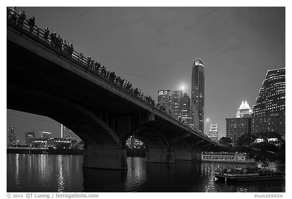 Watching one million bats fly at dusk. Austin, Texas, USA (black and white)