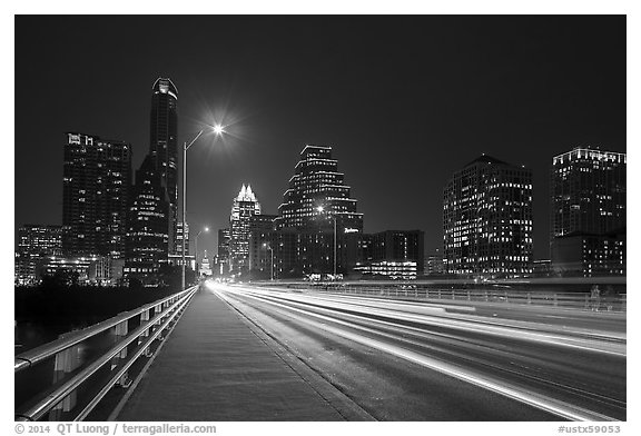 Skyline from Congress Avenue Bridge. Austin, Texas, USA (black and white)