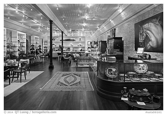 Store interior. Fredericksburg, Texas, USA (black and white)