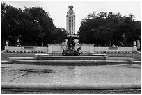 Basin and Texas Tower, University of Texas. Austin, Texas, USA ( black and white)