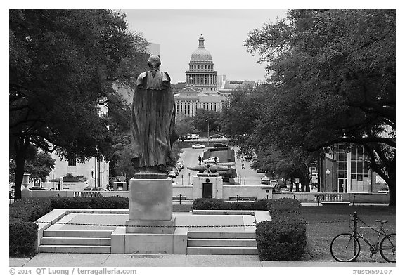 Texas Capitol seen from University of Texas. Austin, Texas, USA (black and white)