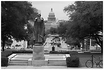 Texas Capitol seen from University of Texas. Austin, Texas, USA ( black and white)