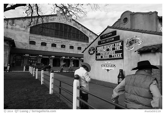 Men in front of Cowtown Coliseum. Fort Worth, Texas, USA (black and white)