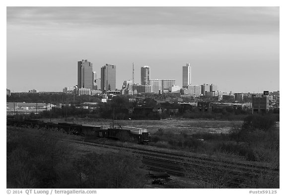 Railroad tracks and skyline. Fort Worth, Texas, USA (black and white)