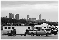 Trucks with horse trailers and skyline. Fort Worth, Texas, USA ( black and white)