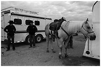 Horse, trailers, and rodeo contestants. Fort Worth, Texas, USA ( black and white)