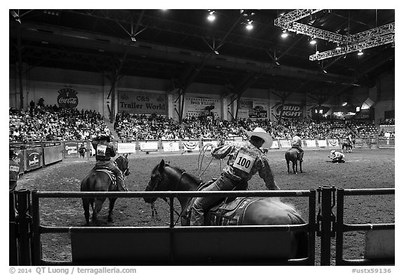 Indoor Rodeo, Cowtown coliseum. Fort Worth, Texas, USA (black and white)