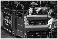 Men and gates, Stokyards Rodeo. Fort Worth, Texas, USA ( black and white)