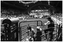 Cowtown coliseum during Stokyards Championship Rodeo. Fort Worth, Texas, USA ( black and white)