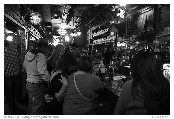 Inside White Elephant bar. Fort Worth, Texas, USA (black and white)