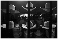Cowboys hats for sale. Fort Worth, Texas, USA ( black and white)