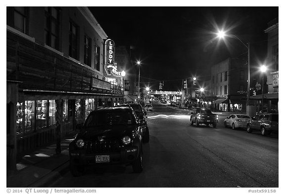 Street at night, Stockyards. Fort Worth, Texas, USA (black and white)