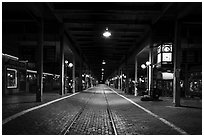 Station at night, Stockyards. Fort Worth, Texas, USA ( black and white)