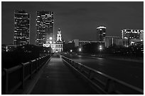 Bridge, courthouse, and skyline at night. Fort Worth, Texas, USA ( black and white)