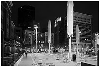 Public square at night. Fort Worth, Texas, USA ( black and white)