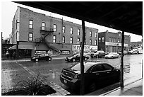 Historic buildings in the rain, Stockyards. Fort Worth, Texas, USA ( black and white)