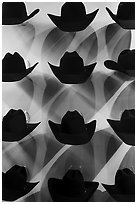 Dark cowboy hats for sale. Fort Worth, Texas, USA ( black and white)