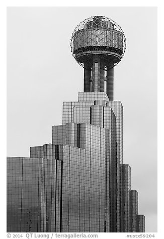 Reunion Tower. Dallas, Texas, USA (black and white)