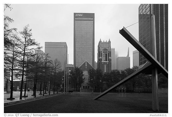 High rises seen from sculpture garden. Dallas, Texas, USA (black and white)