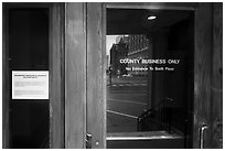 Entrance of Texas School Book Depository,. Dallas, Texas, USA ( black and white)