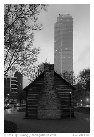 Founder's house and skyscraper at dusk. Dallas, Texas, USA (black and white)